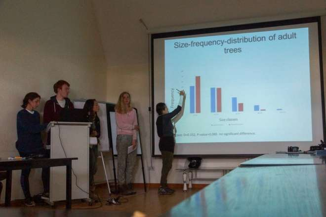 Students give presentations on the ZSL Summer Field Course 2015