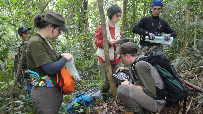 Setting up camera traps in Khlong Nakha Wildlife Sanctuary