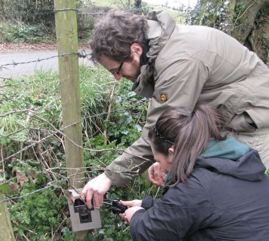 Installing a camera trap for the study