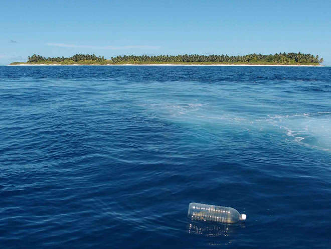 Plastic bottle in the ocean, Chagos