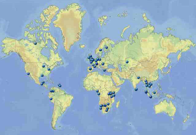 Wild Animal Health Research project locations 1994-2016