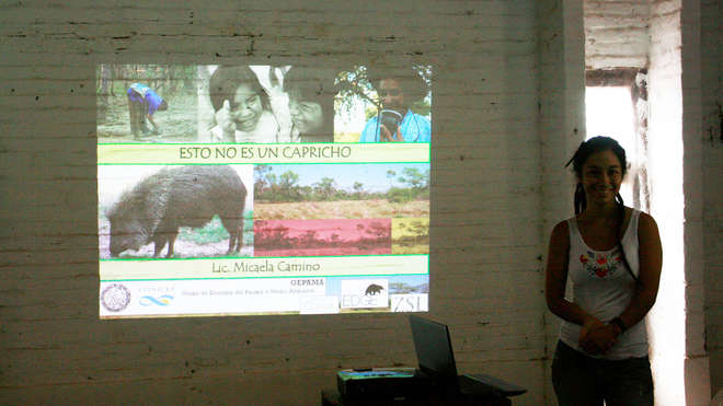 Edge Fellow, Michaela Camino presenting the Chacoan Peccary