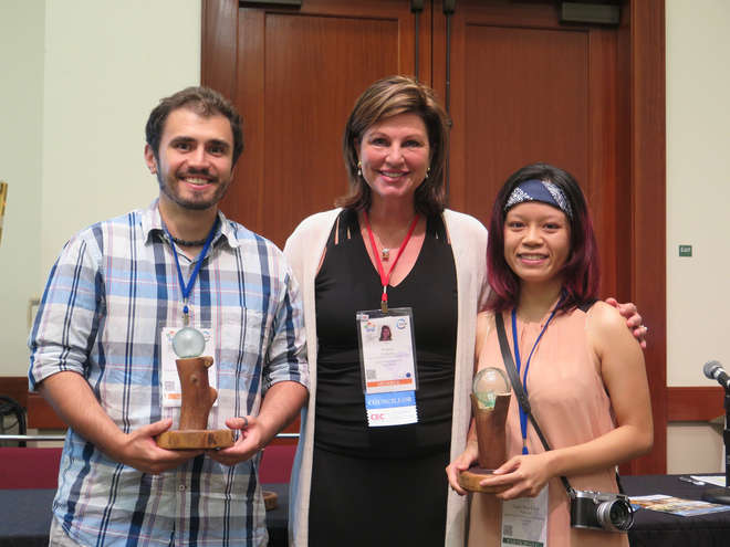 Linh and another winner, Diogo Veríssimo, with Nancy Colleton, IUCN CEC