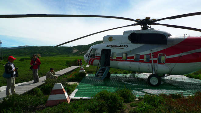 Misha arrived to the UNESCO world heritage site by helicopter