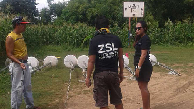 ZSL employees preparing to place the MMPA markers