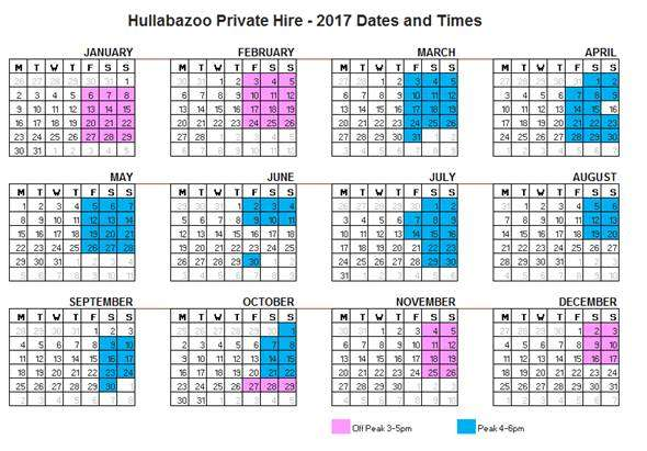 Hullabazoo private hire calendar