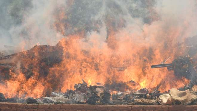 Nepal stockpile burning