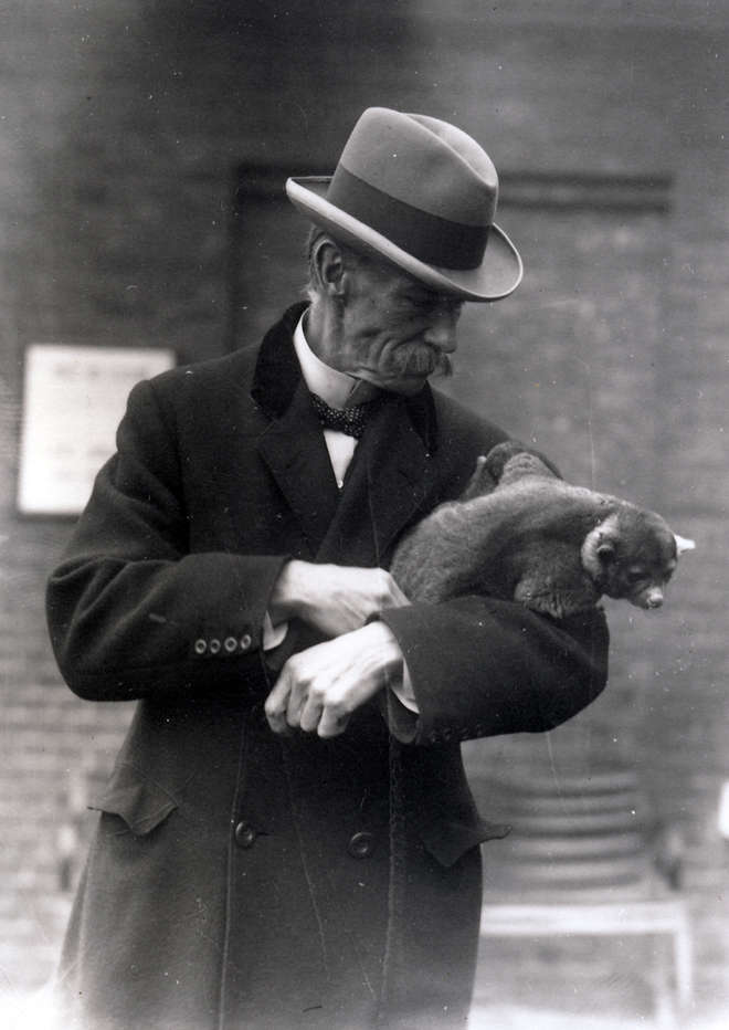 Image from 1923 showing Reginald Innes Pocock holding a Kinkajou