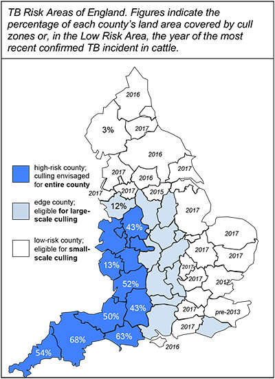 Map of TB risk areas in England