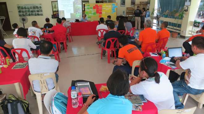 Dr. Jurgenne Primavera delivering her lectures on mangroves and beach forest in Katunggan It Ibajay Ecopark, Aklan