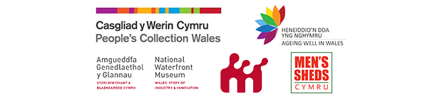 Logos for People's Collection Wales, National Waterfront Museum, Ageing Well in Wales, Mens Sheds Cymru