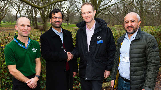 Dominic Jermey, Nic Masters, Aziz Gul and Dr Jalil pose for photos outside ZSL