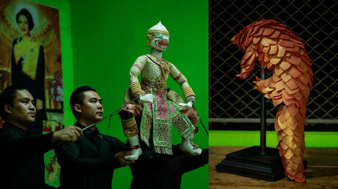Left image - Three puppeteers operating the Hanuman puppet during a performance. Right image - Pangolin puppet on it's stand.