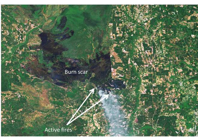 Active fire (detected from space from high temperature using thermal bands of multispectral sensors) & burn scars (detected by multispectral & radar sensors via change in surface structure & darker colour) in the Okefenokee National Wildlife Refuge, USA.