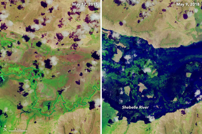 False-colour images captured by Operational Land Imager on Landsat 8 show the Shebelle River (East Africa) on May 17 2015 (normal) & on May 9 2018, after significant flooding burst the banks destroying crops and homes.