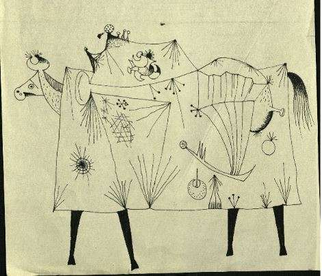 Drawing of a Cow in a surrealist style by Desmond Morris