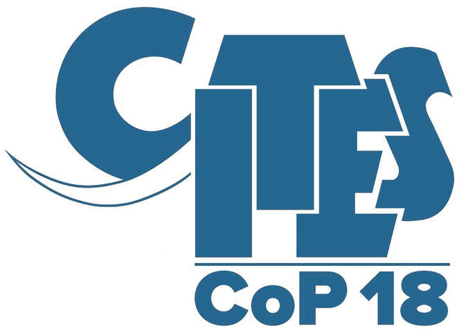 Image of text based logo for CITES Cop18 arranged to look like an elephant