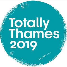 Image Logo - Blue circle with 'Totally Thames 2019' overlaid in white text