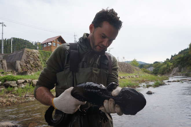 Ben Tapley with Chinese giant salamander
