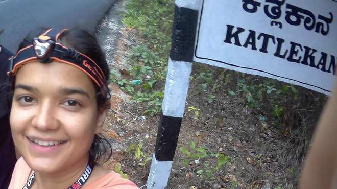 Photo - Selfie taken by Madhushri Mudke with the Kathlekan sign-post behind her.