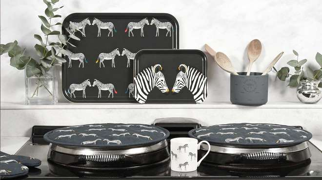 argor with zebra-patterned potholders and trays