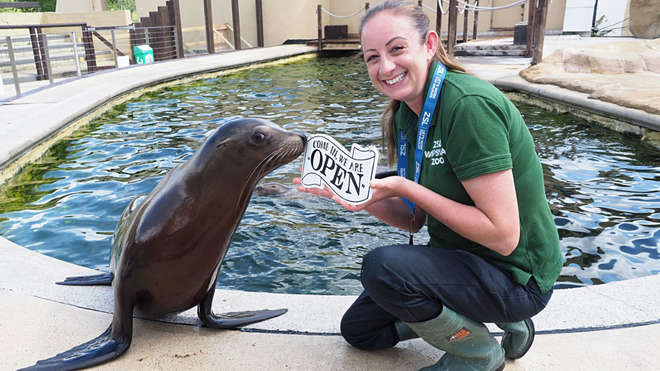 zookeeper with sealion holding sign 'we're open'