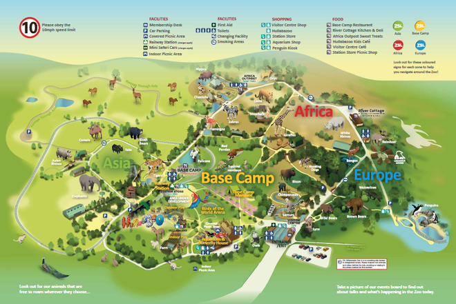 ZSL Whipsnade Zoo map Spring 2021
